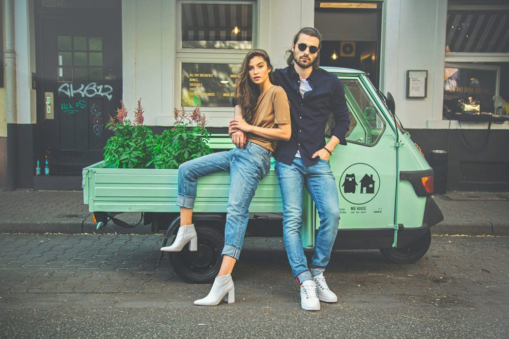 Two Fashion Model on The Street with Retro Motor